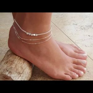 Layered Silver Anklet